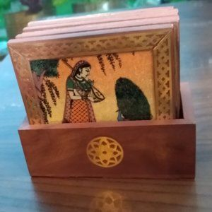 Intricate Indian ethnic coasters